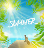 Summer Holidays vector design - Cat on the pier basking under ray of sun — Stock Vector