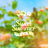 Type vector design - summers greeting sign against a floral defocused background — Stock Vector