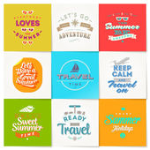 Vector set of travel and vacation type emblems and symbols — Stock Vector
