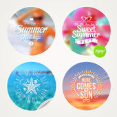 Summer holidays and tropical vacation - set of colorful sticker with type design on a defocused background — Vecteur
