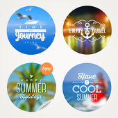 Summer holidays, travel and  vacation - set of colorful sticker with type design on a defocused background — Stock Vector