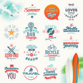 Vector set of travel and summer vacation type design — Vector de stock