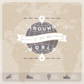 Around the world - travel  vintage type design with world map and  old  transport — Stock Vector