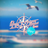 Travel type design with compass rose against a defocused background with sea cruise liner and seagulls — Stok Vektör