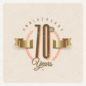 Vintage Anniversary type emblem with golden ribbon and decorative elements - vector illustration — Stock Vector