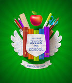 Back to school - vector coat of arms with stationery items — Stock vektor