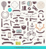 Hipster style vector set - simple silhouette design elements — Stock Vector