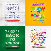 Back to school - set of vector different style vector backgrounds — Stockvektor
