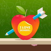 I love school - vector illustration with apple pierced by a pencil — Stock Vector