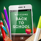 Back to school - vector illustration with smartphone and stationery items — Stock Vector
