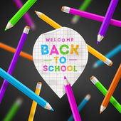 Back to school vector illustration - paper map poiner with hand drawn greeting and colored pencils — Stock Vector
