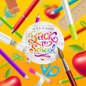 Back to school - vector illustration with watercolor colorful lettering and stationery items — Stock Vector