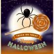 Halloween vector illustration - spider with lollipop candy and type design against a full moon night background — Stock Vector #50632329