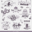 Vector illustration - Halloween type design set with hand drawn elements — Stock Vector