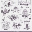 Vector illustration - Halloween type design set with hand drawn elements — Cтоковый вектор