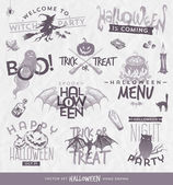 Vector illustration - Halloween type design set with hand drawn elements — Vetorial Stock