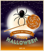 Halloween vector illustration - spider with lollipop candy and type design against a full moon night background — Stock Vector