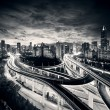 Shanghai City at sunset with light trails — Stock Photo #12544531