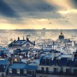Paris cityscape taken from Montmartre - Stock Photo