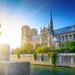 Notre Dame at sunset - Paris — Stock Photo