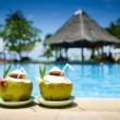 Pina Colada drink at pool and bar — Stock Photo