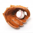 Baseball ball in leather glove — Stock Photo