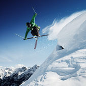Jumping skier — Stock Photo