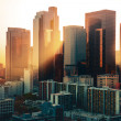 Los Angeles downtown skyline at sunset — Stockfoto