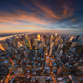 New York City skyline at sunset — Stok fotoğraf