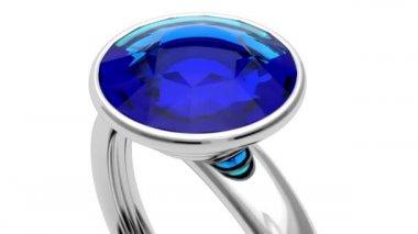 платиновое кольцо с голубой бриллиант — Стоковое видео