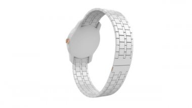 White ceramic wristwatch — Vídeo Stock