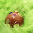 Green feathers and Christmass ball — Stock Photo #2486331