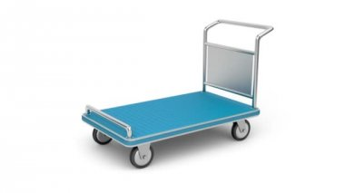 Airport luggage cart — Vídeo de stock