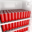 Red beverage cans — Stock Photo