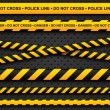 Stock Vector: Police line and danger tapes on dark background