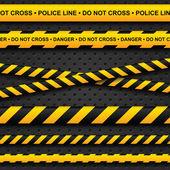 Linea di polizia e pericolo nastri su sfondo scuro — Vettoriale Stock