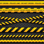 Police line and danger tapes on dark background — Stockvector
