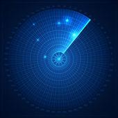 Blue radar screen — Stock Vector