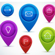 Glossy map pointers with icons - idea, mail, portfolio, home, flag — Vettoriali Stock