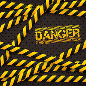Danger sign under police lines and danger tapes — Stock Vector
