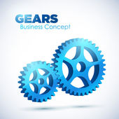 3D glossy Gears. Business, Teamwork concept. — Stock Vector