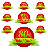 Total Sale Christmas tags with Sale 10 - 90 percent text — Vettoriale Stock