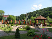 Hotel territorium i bergen — Stockfoto
