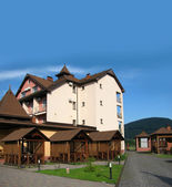 New hotel in mountains — Stock Photo