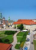 Panorama of Vavel (Krakow, Poland) from height of bird's flight — Stock Photo