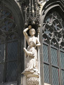 Sculpture from a facade of a Gothic cathedral — Stock Photo
