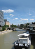 Panorama of the Danube in Vienna (Austria) — Stock Photo