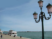 Lantern at embankment in Venice (Italy) — Stock Photo