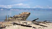 Old pier near village Peschanaya, Lake Baykal — Stock Photo