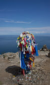 Serge on the Cape Khoboy, the north point of Olkhon Island. — Stock Photo